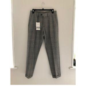 Zara 4-Way Stretch Plaid Trousers pants Size 29